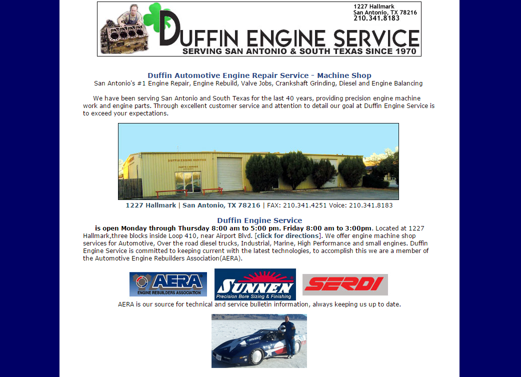 Duffin Engine Old Site Screenshot